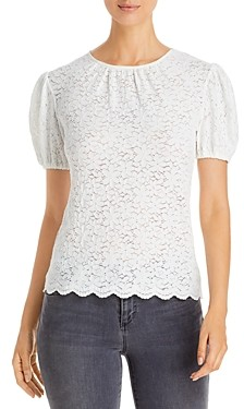 Red Haute Scalloped Lace Top