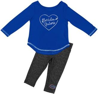 Colosseum Girls Infant Royal Florida Gators Ice Metallic Long Sleeve T-Shirt & Leggings Set