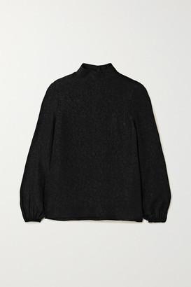 Theory Silk-jacquard Turtleneck Top - Black