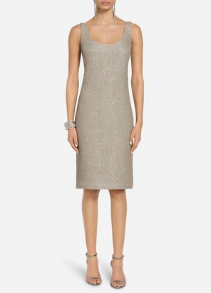 St. John Glittering Evening Knit Scoop Neck Dress