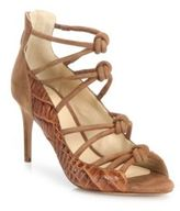 Alexandre Birman Crocodile & Knotted Suede Cage Sandals