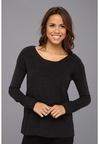Calvin Klein Acrylic Sweater w/ Shoulder Buttons (Heather Charcoal) - Apparel