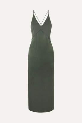Dion Lee Satin And Crepe Midi Dress - Green