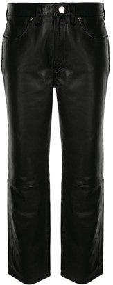 Gold Sign Straight-Leg Cropped Trousers