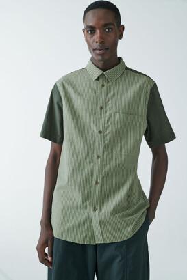 Cos Organic Cotton Contrast Panel Stripe Shirt