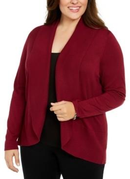 Karen Scott Plus Size Open-Front Cardigan Sweater, Created For Macy's