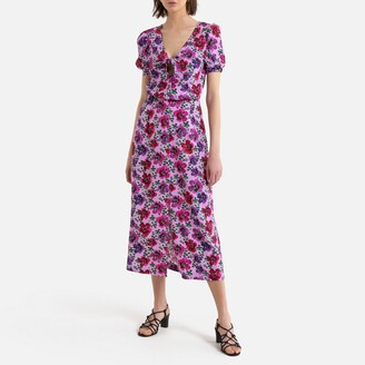 Occasion Midi Dress in Satin Floral Print with Short Puff Sleeves
