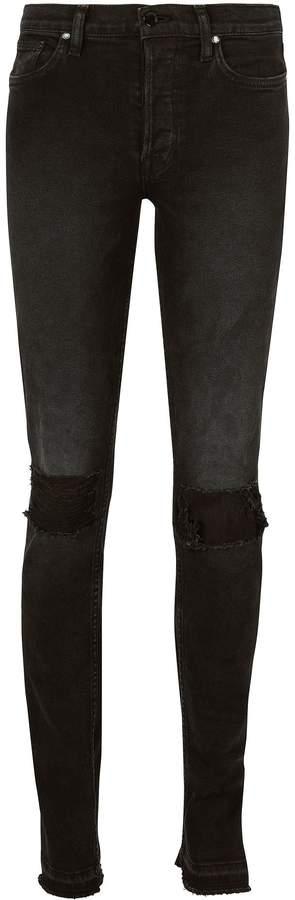 Cotton Citizen High Split Distressed Skinny Black Jeans
