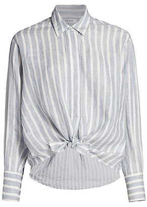 Frame Striped Tie Button-Up Shirt