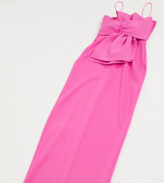 Laced In Love bow back maxi dress with thigh split in hot pink
