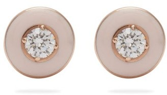 Selim Mouzannar Mina 18kt Rose Gold, Diamond & Enamel Earrings - Pink