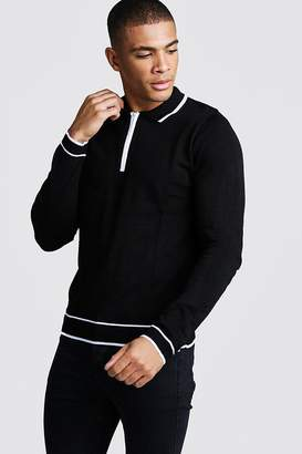 boohoo Regular Fit Long Sleeve Polo With Half Zip