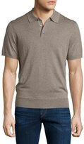Neiman Marcus Short-Sleeve Cashmere-Silk Polo Shirt, Taupe Grey