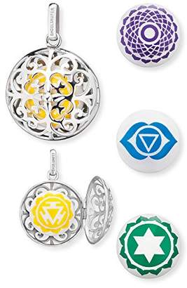 Engelsrufer Women's 925 Sterling Silver Yellow Pendant with Four Changeable Sound Lenses Solarplexus, Crown, Brow and Heart Chakra