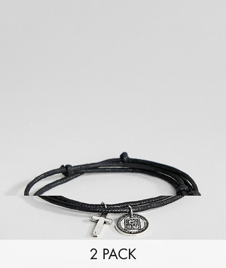 Asos Design DESIGN 2 pack woven bracelets with cross and coin-Black