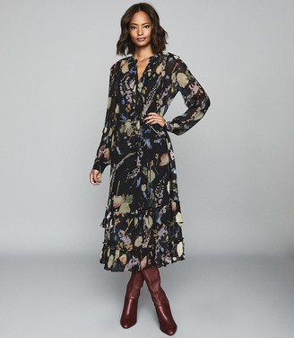 Reiss Sadie - Floral Printed Midi Dress in Black