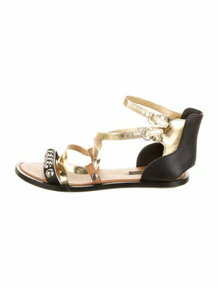 Louis Vuitton Leather Colorblock Pattern Gladiator Sandals Gold
