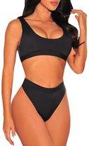 Viottis Women's High Waist Thong Cropped Top Swimsuit Bikini Set Rose L