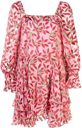 Alice + Olivia Square Neck Floral Print Dress