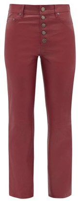 Joseph Den Leather Straight-leg Trousers - Womens - Dark Red