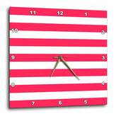 3dRose dpp_56670_2 Red and White Stripes Candy Cane Style or Barbershop Pole Style-Wall Clock