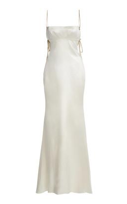 DANIELLE FRANKEL Ava Open-Back Wool-Silk Gown