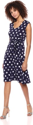 Chaus Women's Cap SLV Ruched Tie Dye Dot Dress