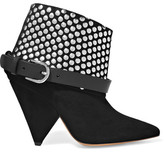 Isabel Marant Otway Leather-trimmed Studded Suede Ankle Boots - Black
