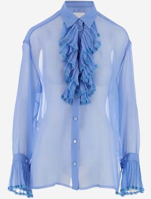 Maison Margiela Transparent Sky Blue Silk Women's Ruffle Shirt