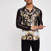 Mens Jaded Black baroque satin shirt