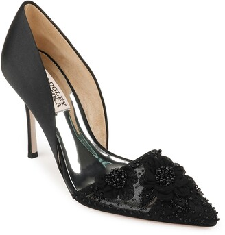 Badgley Mischka Ophelia Beaded Floral Pointed Toe Pump