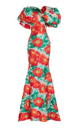 Oscar de la Renta Floral Off-The-Shoulder Gown