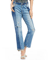 Free People The Patchwork Cropped Straight Jeans