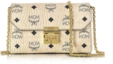 MCM Millie Visetos Beige Coated Canvas Medium Flap Crossbody