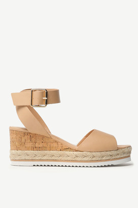 Ardene Jute and Faux Leather Wedge Sandals