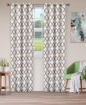 "Superior Soft Quality Woven, Bohemian Trellis Blackout Thermal Grommet Curtain Panel Pair, Set of 2, 52"" x 84"""