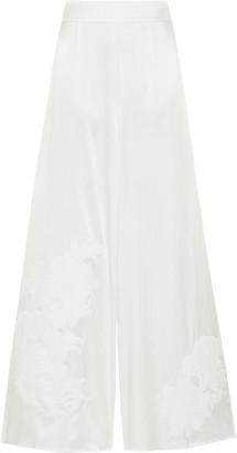 Myla Primrose Hill Appliqued Stretch-silk Satin Pajama Pants