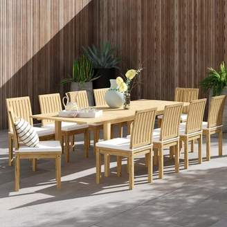 Anthony Logistics For Men Modern Rustic Interiors 11 Piece Teak Dining Set with Cushions Modern Rustic Interiors