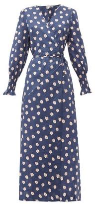 Belize - Kaia Floral-print Cotton-seersucker Wrap Dress - Womens - Navy Print