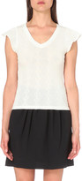 Claudie Pierlot Tresse open-knit cotton t-shirt