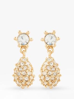 Susan Caplan Vintage D'Orlan 22ct Gold Plated Swarovski Crystal Teardrop Clip-On Drop Earrings, Gold