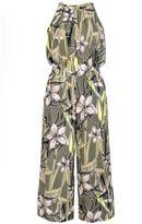Quiz Khaki Tropical Print Floral Culotte Jumpsuit