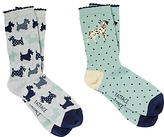 Fat Face Dog Ankle Socks, Pack of 2, Multi