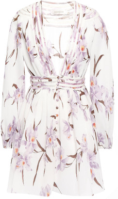 Zimmermann Floral-print Plisse-chiffon Mini Dress