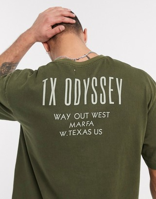 Topman t-shirt with print in washed khaki