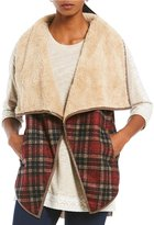 Multiples Shawl Collar Faux-Fur Open Front Plaid Print Vest