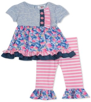 Rare Editions Baby Girls 2-Pc. Printed Ruffle Top & Leggings Set