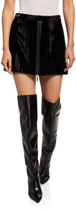 Ramy Brook Marisol Velvet Zip-Front Mini Skirt