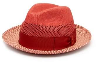 Borsalino Quito Panama Chevron-striped Straw Hat - Mens - Red Multi