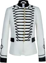 The Extreme Collection - White Blazer With Black Satin Embroidery Isaura